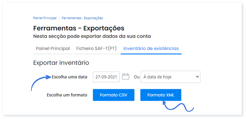 Formatos disponíveis para a exportação