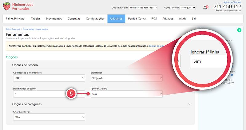 Importar categorias a partir de um ficheiro XLS, XLSX ou CSV - passo 4