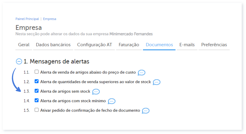 Alerta de artigos sem stock