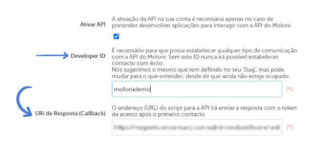 Configuração de conta e API