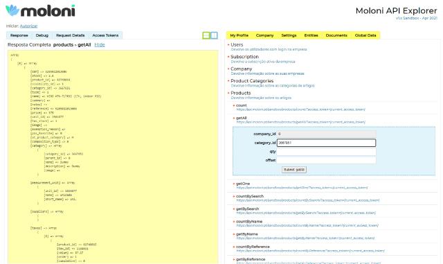Explorer da API do Moloni em ambiente de testes